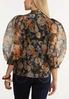 Plus Size Dark Floral Puff Sleeve Top alternate view