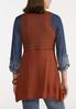 Plus Size Rust Crochet Sweater Vest alternate view