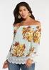 Floral Crochet Trim Top alt view