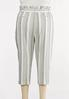 Plus Size Olive Stripe Linen Pants alternate view