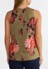 Plus Size Olive Floral Tank alternate view