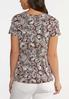 Plus Size Knotted Brown Floral Top alternate view