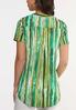 Plus Size Green Stripe Pullover Top alternate view