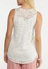 Embroidered Mesh Ivory Tank alternate view