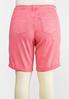 Plus Size Pink Denim Bermuda Shorts alternate view