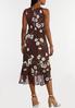 Plus Size Floral Ruffle Halter Midi Dress alternate view