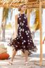 Plus Size Floral Ruffle Halter Midi Dress alt view