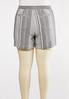 Plus Size Gray Stripe Linen Shorts alternate view
