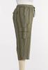 Plus Size Striped Linen Crop Cargo Pants alt view