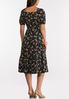 Plus Size Black Floral Midi Dress alternate view