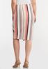 Plus Size Button Raspberry Stripe Skirt alternate view