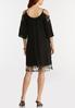 Plus Size Lacy Cold Shoulder Swing Dress alternate view