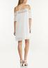 Cold Shoulder Pleated White Dress alternate view