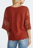 Plus Size Embroidered Mesh Sleeve Top alternate view