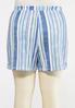 Plus Size Striped Ocean Blue Shorts alternate view