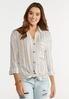 Plus Size Stripe Linen Button Down Shirt alt view