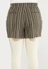 Plus Size Olive Stripe Linen Shorts alternate view