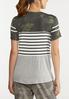 Plus Size Camo Stripe Knotted Tee alternate view