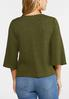 Plus Size Green Ribbed Bell Sleeve Top alternate view