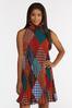 Plus Size Pleated Diamond Stripe Swing Dress alternate view