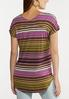 Striped Ruched Sleeve Top alternate view