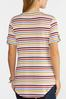 Plus Size Stripe Button Sleeve Tee alt view