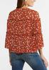 Plus Size Ruffled Rust Floral Poet Top alternate view