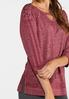 Lace Up Wine Athleisure Top alt view