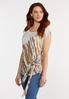 Plus Size Knotted Brushed Stripe Top alt view