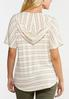 Plus Size Stripe Tie Front Hooded Top alternate view