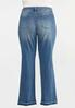 Plus Size Flare Raw Hem Jeans alternate view