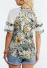 Plus Size Tropical Lace Sleeve Top alternate view