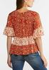 Plus Size Orange Ruffled Floral Top alternate view