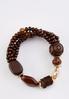 Wood Glass Bead Stretch Bracelet alt view