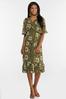 Plus Size Olive Babydoll Dress alt view