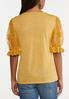 Embroidered Mesh Sleeve Top alternate view
