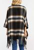 Plaid Buckle Front Poncho alternate view