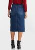 Plus Size Plaid Pocket Denim Skirt alternate view