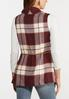 Plus Size Belted Wine Plaid Vest alternate view