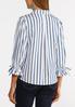 Plus Size Stripe Tie Sleeve Shirt alternate view