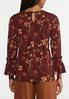 Plus Size Wine Floral Top alternate view