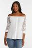 Gauzy Embroidered Sleeve Top alt view