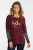 Plus Size Hello Fall Waffle Sleeve Top alternate view