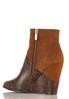 Mixed Faux Animal Wedge Booties alternate view