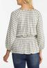 Plus Size Shimmery Smocked Plaid Top alternate view