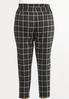 Plus Size Plaid Faux Leather Trim Pants alternate view