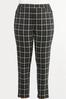Plus Size Plaid Faux Leather Trim Pants alt view