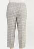Plus Size Neutral Plaid Slim Ankle Pants alternate view