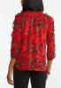 Plus Size Red Ruffled Cold Should Top alternate view