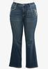 Plus Size Floral Embroidered Bootcut Jeans alternate view